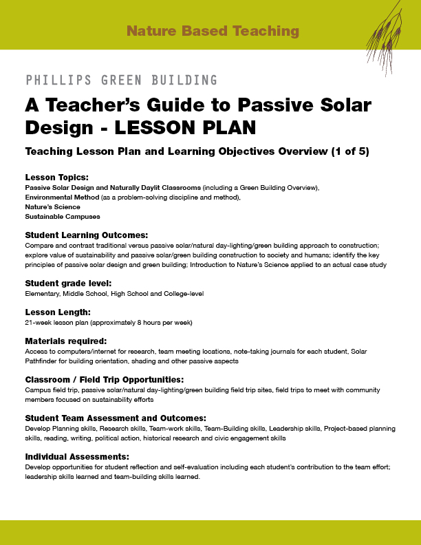 Passive Solar Design PR14 - Nature Based Teaching